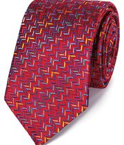 Red multi silk zig zag English luxury tie