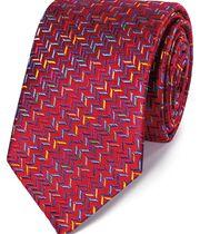 Luxuriöse englische Seidenkrawatte in Rot Bunt mit Zickzack Muster