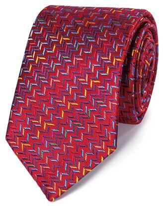 Red multi silk zig zag English luxury tie