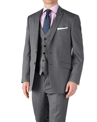 Silver classic fit twill business suit jacket