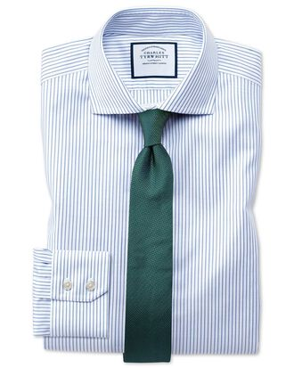 Slim fit cutaway collar non-iron cotton stretch Oxford stripe blue and white shirt