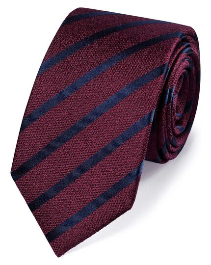 Burgundy silk slim textured stripe classic tie