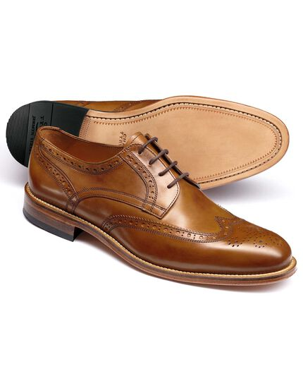Tan Medlyn wing tip brogue Derby shoes