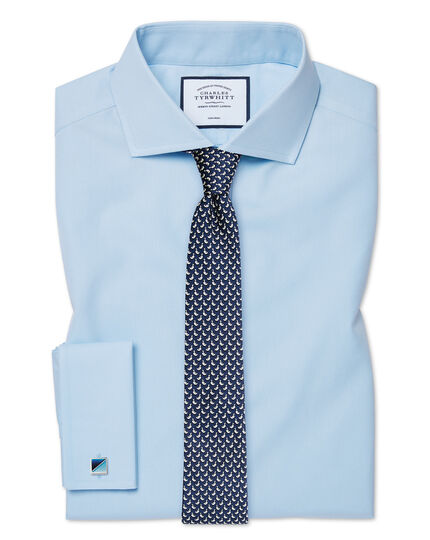 Extra slim fit spread collar non-iron poplin sky blue shirt