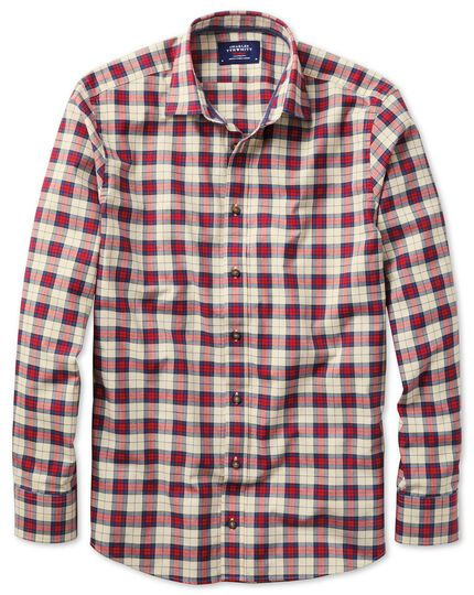 Classic fit heather tartan red check shirt