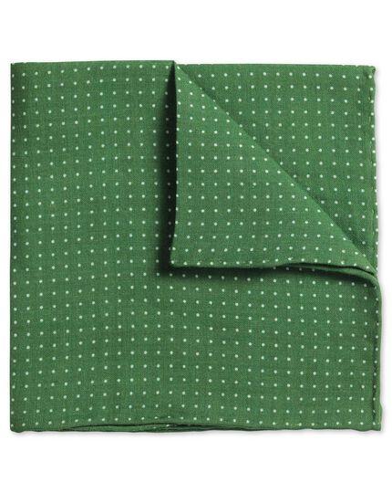 Klassisches Einstecktuch aus Leinen in Grün mit Punkten