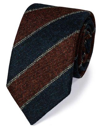 Luxuriöse italienische Krawatte aus Shetlandwolle in Dunkelorange mit Streifen