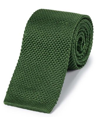 Green silk slim knitted classic tie