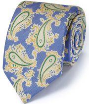 Luxuriöse italienische Krawatte aus Baumwoll-Mix in Blau mit Paisley-Muster