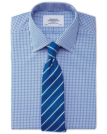 Extra slim fit non-iron grid check navy blue shirt