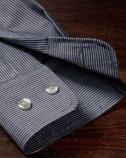 Slim fit non-iron poplin indigo stripe shirt