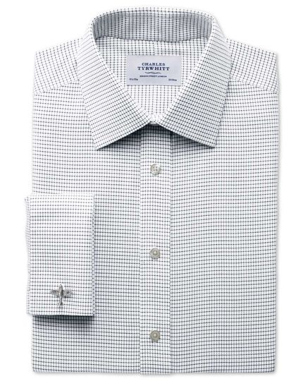 Classic fit non-iron white and black shirt