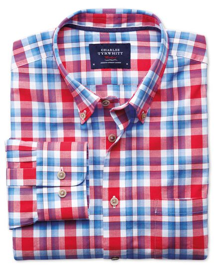 Classic fit button-down poplin sky blue and red check shirt