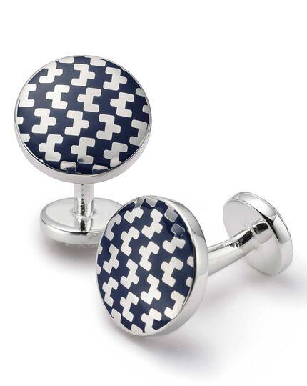 Runde Manschettenknöpfe aus Emaille in Marineblau mit geometrischem Muster