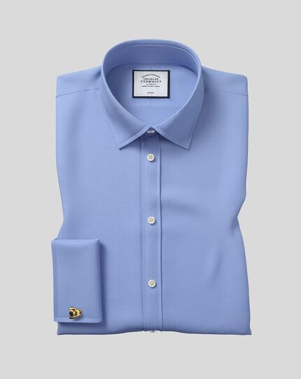 Bügelfreies Extra Slim Fit Hemd aus Royal-Panama in Blau