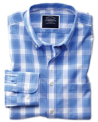 Slim fit button-down non-iron poplin blue and white check shirt