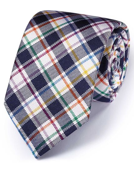 Navy silk English luxury check tie