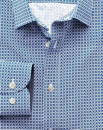 Extra slim fit royal and white geometric print shirt