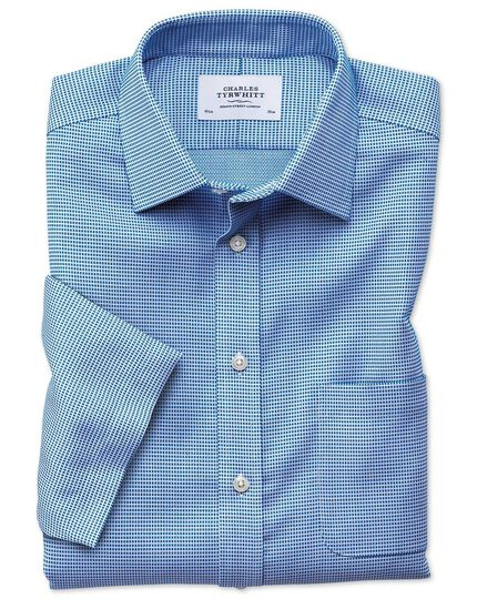 Classic fit non-iron textured short sleeve blue shirt