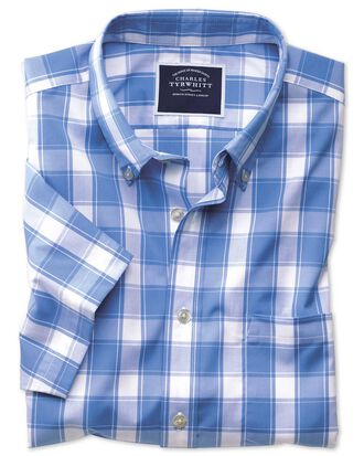 Slim fit button-down non-iron poplin short sleeve blue and white check shirt