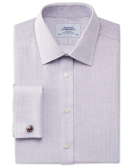 Extra slim fit non-iron Windsor check purple shirt