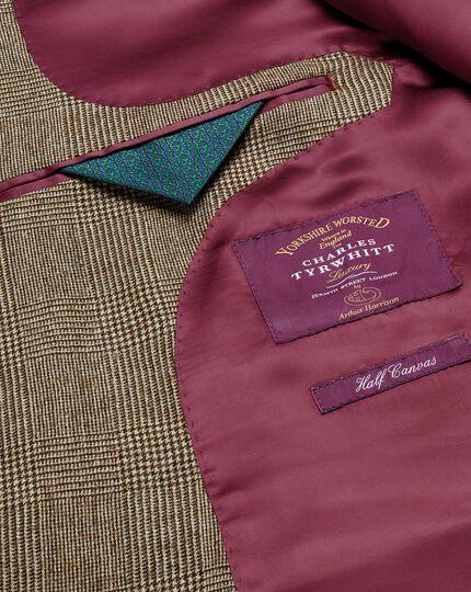 Veste de costume de luxe brun clair coupe droite à carreaux en sergé britannique
