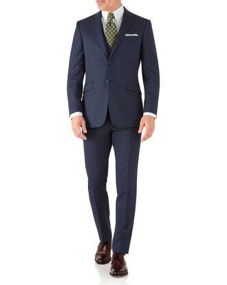 Slim Fit Business Anzug aus Hairline in Airforceblau