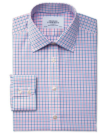 Extra slim fit non-iron windowpane check blue and red shirt
