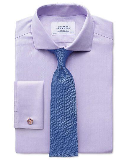Extra slim fit cutaway collar non-iron herringbone lilac shirt