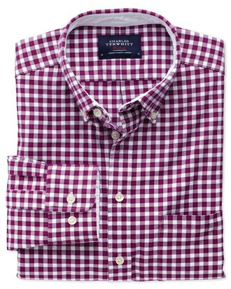 Extra slim fit berry check washed Oxford shirt