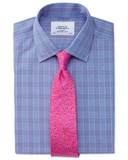 Bügelfreies Slim Fit Hemd in Blau und Rosa mit Prince-of-Wales-Karos