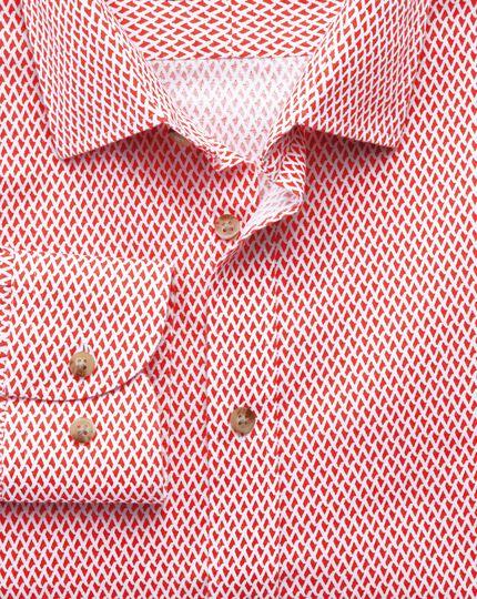 Chemise blanche et corail coupe droite à imprimé