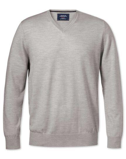 Silver merino wool v-neck jumper