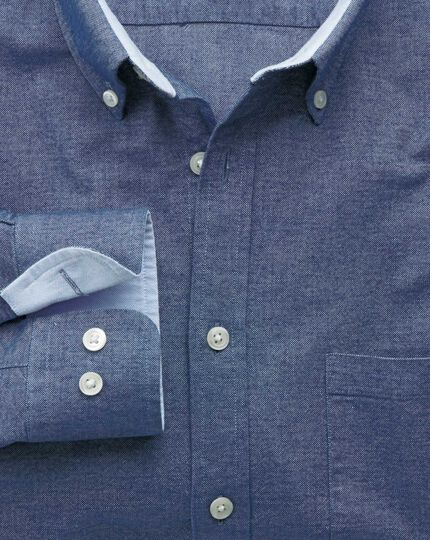 Classic fit denim blue washed Oxford shirt