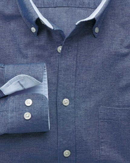Slim fit denim blue washed Oxford shirt