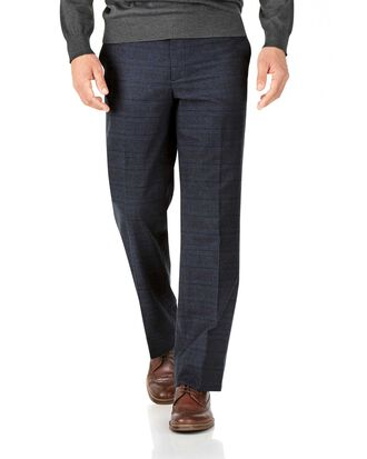 Indigo classic fit cotton flannel check trousers