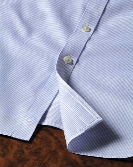 Extra slim fit non-iron puppytooth sky blue shirt