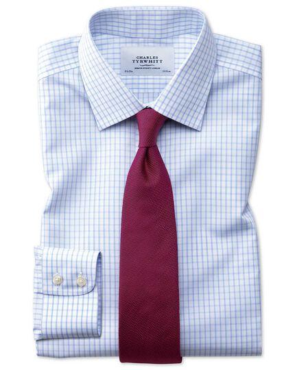 Slim fit non-iron small windowpane check light blue shirt