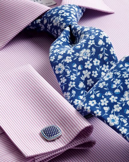 Slim fit semi-cutaway collar Egyptian cotton soft touch bengal stripe pink shirt