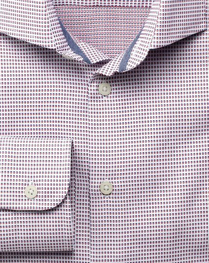 Classic fit semi-cutaway collar business casual microtexture red and blue shirt