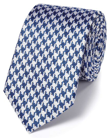 Royal and white silk houndstooth classic tie