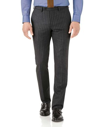 Pantalon de costume business charcoal slim fit en flanelle à rayures