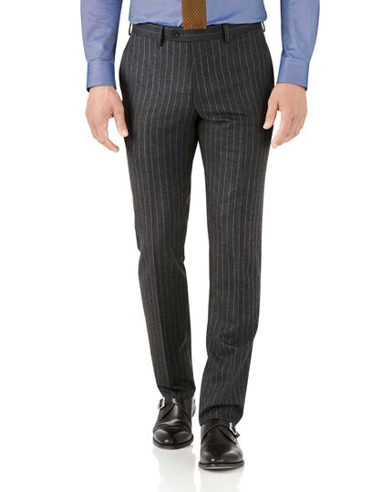 Charcoal stripe slim fit flannel business suit trousers