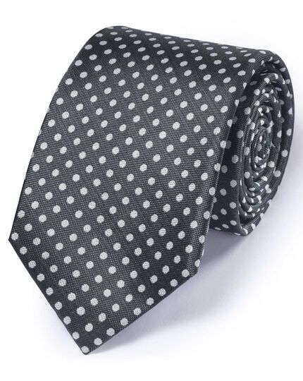 Pewter silk classic Oxford spot tie