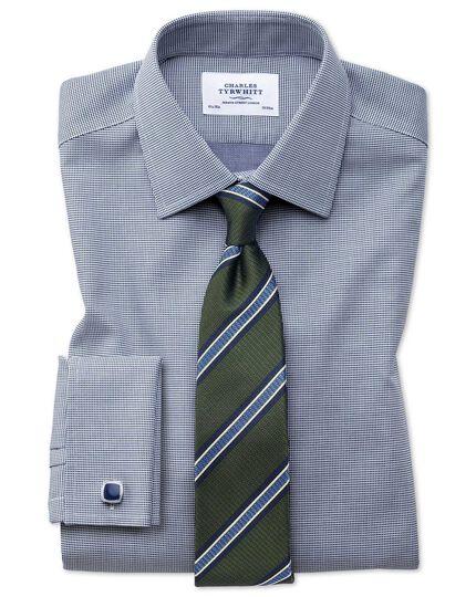 Chemise bleu marine à tissage carré slim fit sans repassage