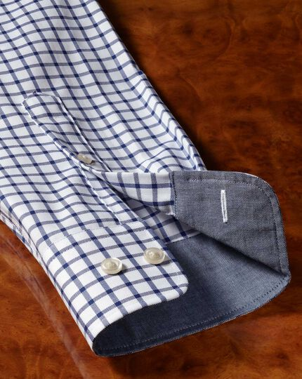 Classic fit non-iron Oxford white and navy grid check shirt