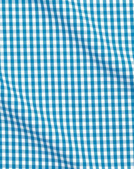 Chemise business casual bleu turquoise slim fit à col boutonné sans repassage