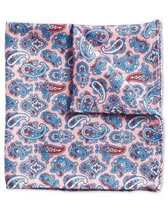 Pochette de costume rose et bleue en luxueux tissu britannique à motif cachemire