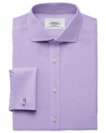 Slim fit cutaway collar non-iron twill lilac shirt