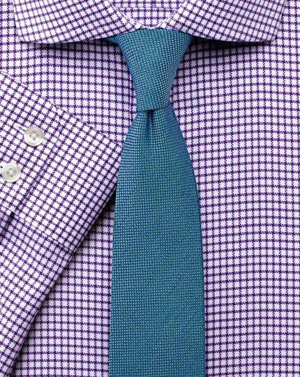 Extra slim fit non-iron cutaway collar basketweave check purple shirt